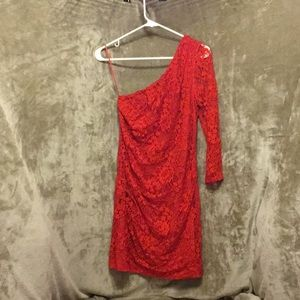 Express 8 Red laced one sleeved dress